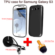 Soft TPU Silicone Gel Back Case Cover For Samsung Galaxy S3 +Stylus